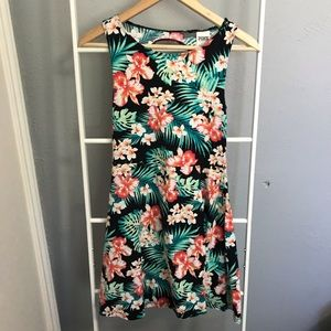 PINK floral tropical skater dress size small